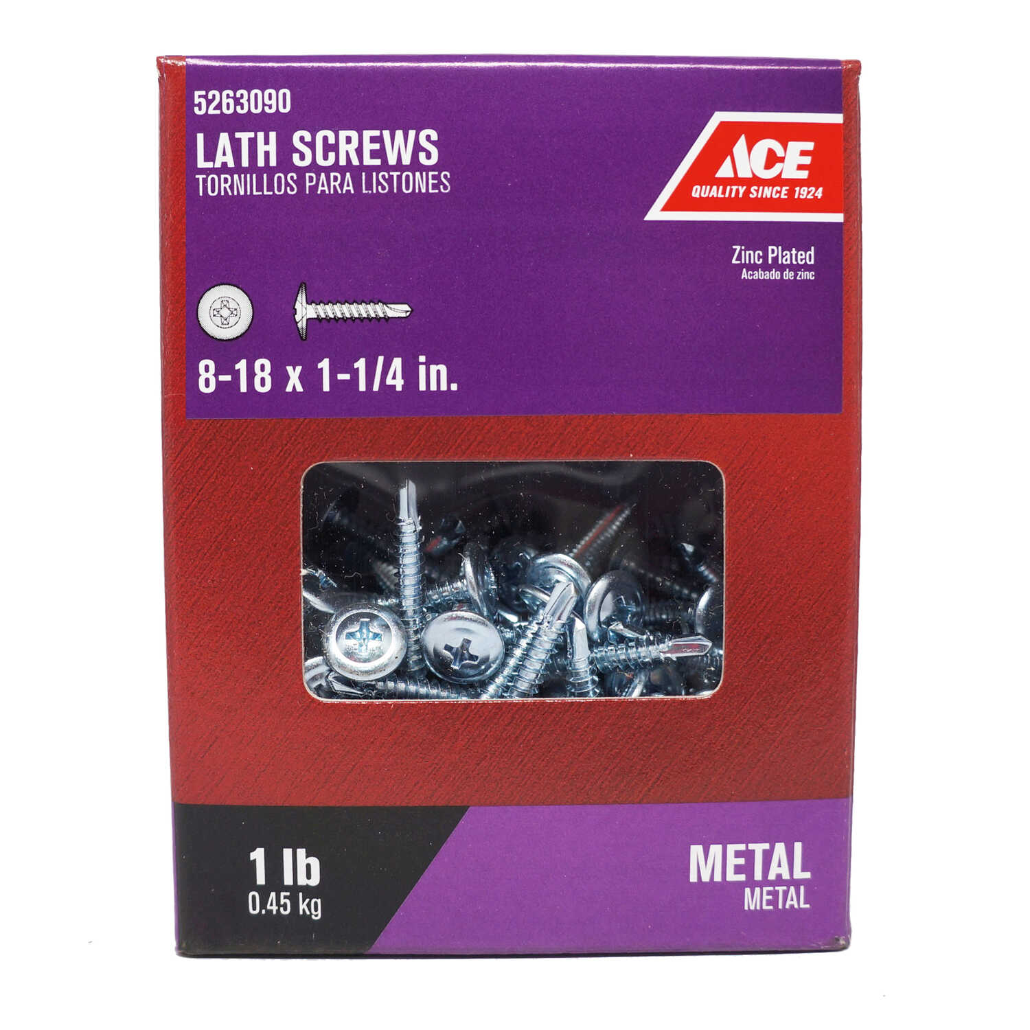 Ace  No. 8   x 1-1/4 in. L Phillips  Truss Washer Head Zinc-Plated  Steel  Lath Screws  1 lb. 155 pk