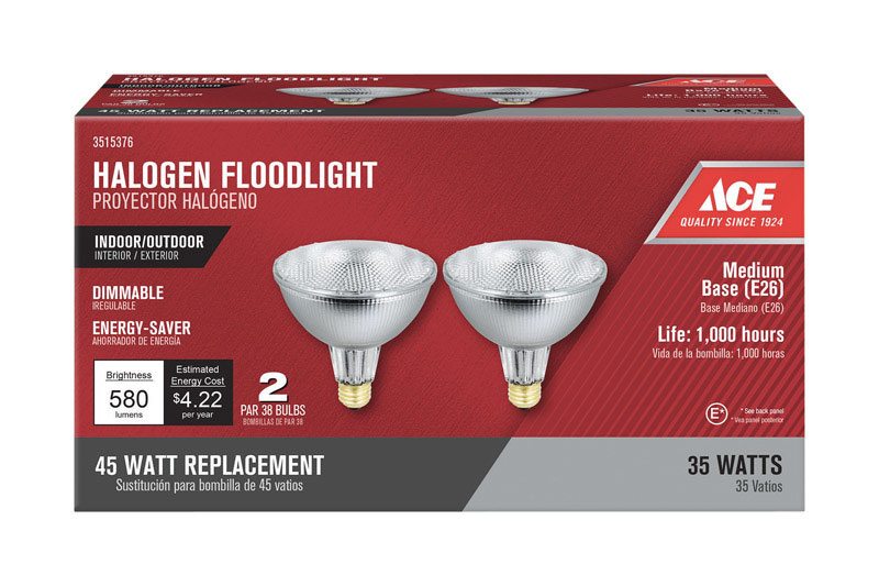 Ace 300 Watts Par38 Halogen Bulb 2 Pk Floodlight 3000 Lumens Bright White
