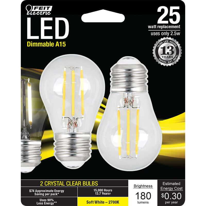 FEIT Electric  3 watts A15  LED Bulb  200 linear metre Soft White  A-Line  25 Watt Equivalence