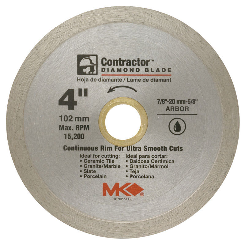M.K. Diamond  4 in.  4  Diamond  Contractor  Continuous Rim Circular Saw Blade  1 pk 7/8-5/8