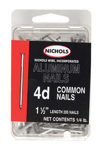 Nichols Wire  4D  1-1/2 in. L Common  Aluminum  Nail  Flat Head Smooth Shank  205  1/4 lb.