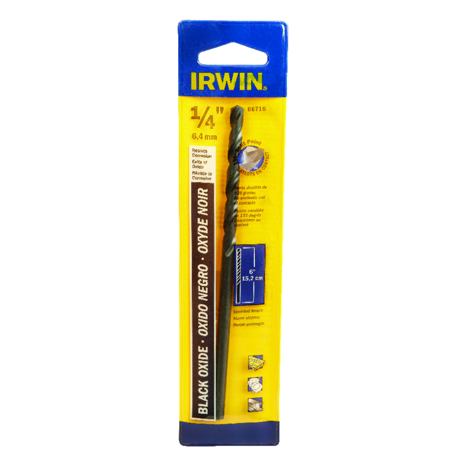 Irwin  1/4 in. Dia. x 6 in. L High Speed Steel  Split Point Drill Bit  Straight Shank  1 pc.