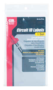 GB  Circuit Breaker Panel Marker  1 pk