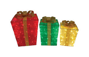 Citi-Talent  Gift Boxes  Holiday Decoration  Red/Green/Gold  Fabric  1 set