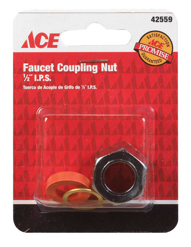 Ace  1/2 in. Dia. x 1/2 in. Dia. FPT To FPT  Steel  Coupling Nut