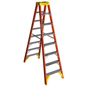 Werner  Twin Stepladder  8 ft. H x 26.88 in. W Fiberglass  Step Ladder  300 lb. Type IA