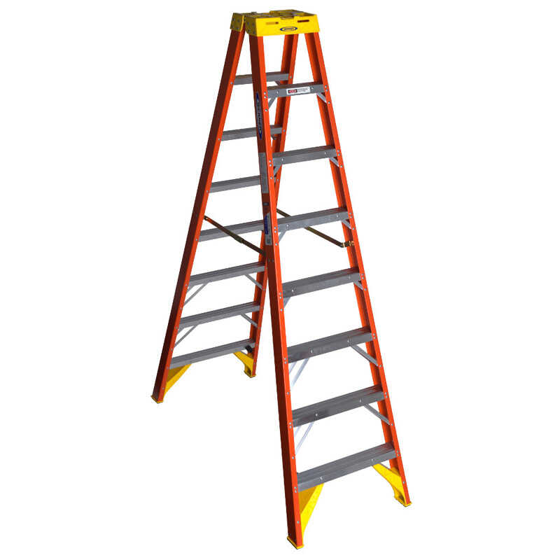 Werner  Twin Stepladder  8 ft. H x 26.88 in. W Fiberglass  Type IA  300 lb. capacity Step Ladder
