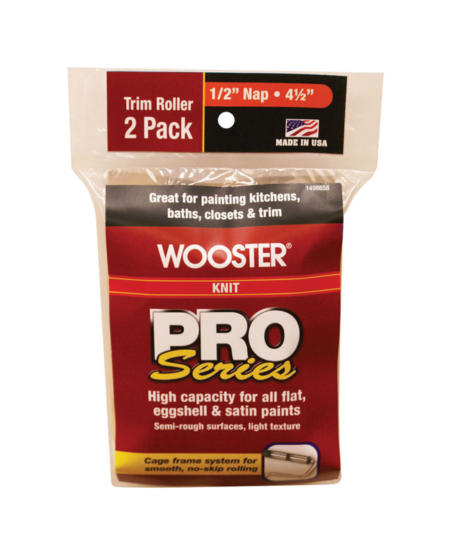 Wooster  Pro Series  Knit  1/2 in.  Trim  For Semi-Rough Surfaces Paint Roller Cover  2 pk
