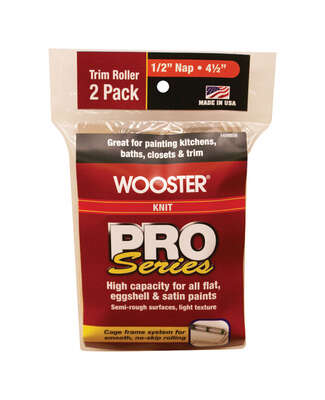 Wooster  Pro Series  Knit  1/2 in.  x 4-1/2 in. W Trim  Paint Roller Cover  2 pk