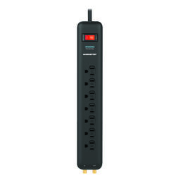 Monster  Just Power It Up  6 ft. L 7 outlets Power Strip w/Surge Protection  Black