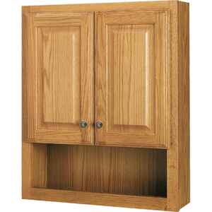 Continental Cabinets  28 in. H x 23.25 in. W x 7.88 in. D Square  Oak  Bath Storage Cabinet