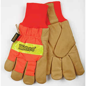 Kinco  Men's  Outdoor  Pigskin Leather  Hi-Viz  Work Gloves  Orange  XL  1 pair