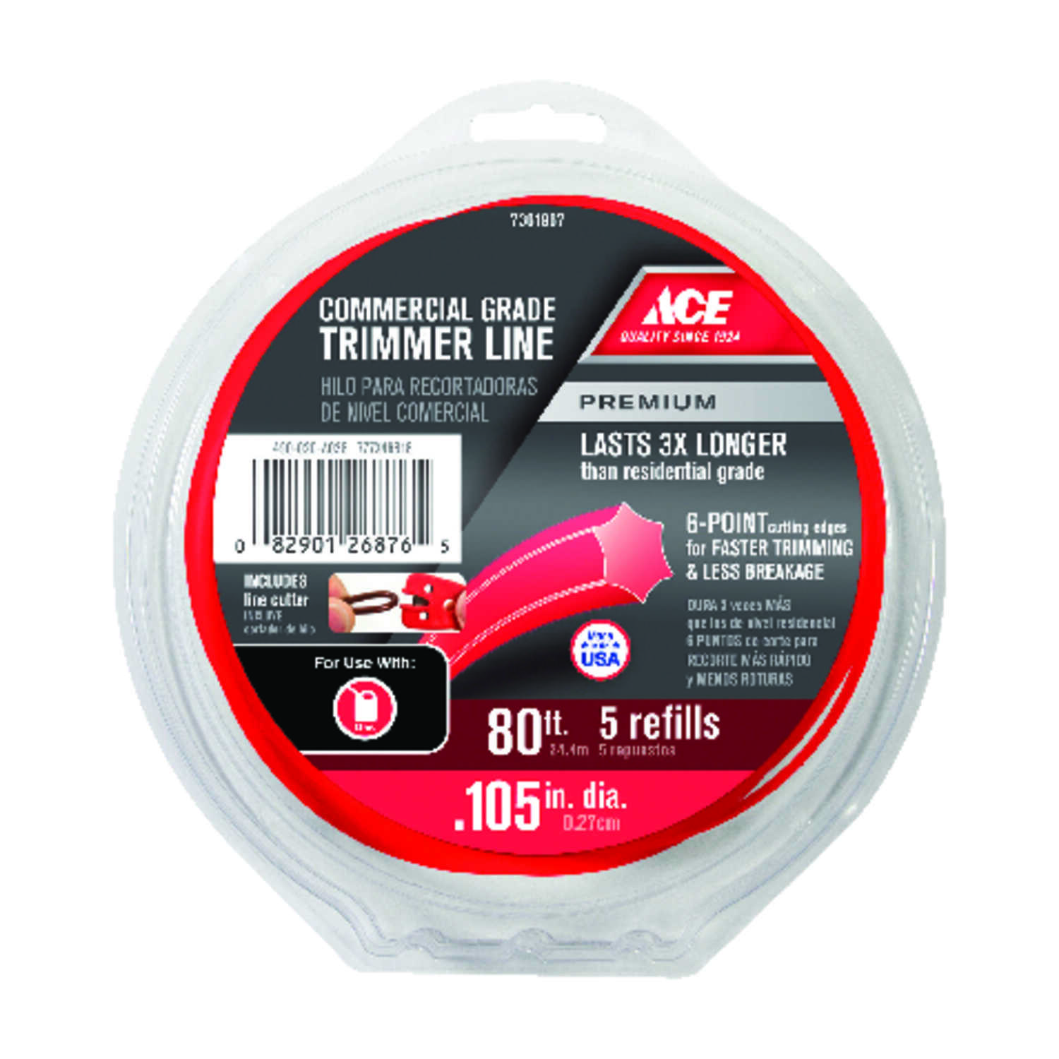 Ace  Premium  Commercial Grade  0.105 in. Dia. x 80 ft. L Trimmer Line