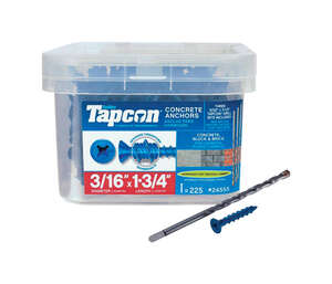 Tapcon  1/4 in. Dia. x 1-3/4 in. L Flat  Steel  225 pk Concrete Screw Anchor