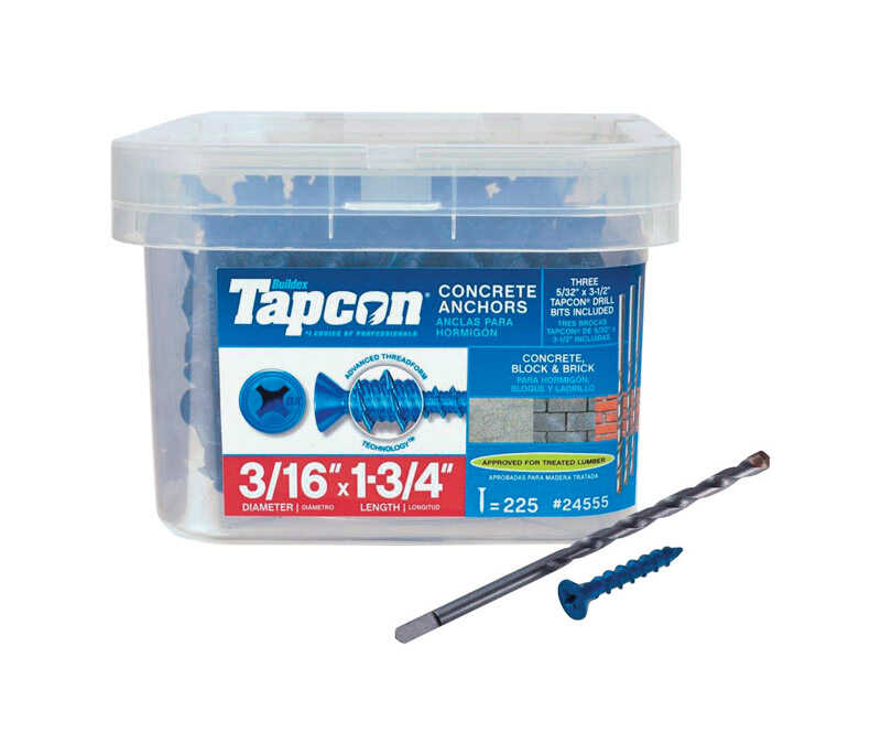 Tapcon  1/4 in. Dia. x 1-3/4 in. L Steel  Flat Head Concrete Screw Anchor  225 pk