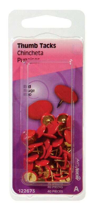 Hillman Red Push Pins 40 pk