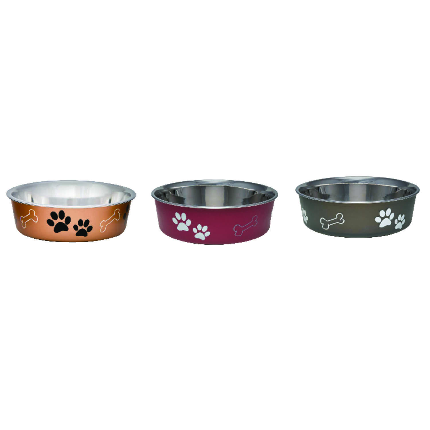 Loving Pets  Assorted  Bones and Paw Prints  Stainless Steel  4 cups Pet Bowl  For Dog