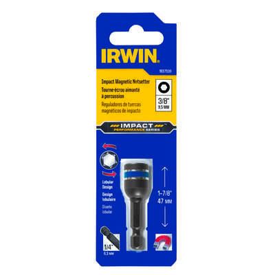 Irwin  Impact Performance Series  3/8 in. Metric  Lobular  Power Nut Driver  1-7/8 in. L 1 pc.
