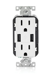 Leviton  Decora  15 amps 125 volt Duplex  White  Outlet and USB Charger  5-15R  1 pk