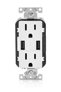 Leviton  Decora  15 amps 125 volt White  Outlet and USB Charger  5-15R  1 pk