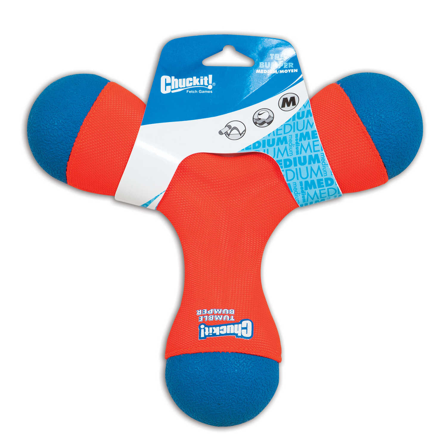 Chuckit!  Multicolored  Tri Bumper  Rubber  Medium  Tug Toy