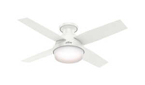 Hunter Fan  Dempsey  4 blade Indoor  White  Ceiling Fan With Light