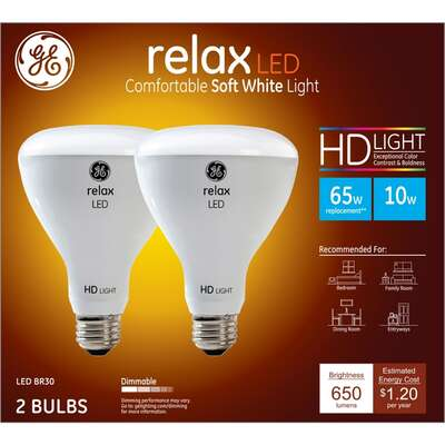 GE Lighting  Relax HD  BR30  E26 (Medium)  LED Floodlight Bulb  Soft White  65 Watt Equivalence 2 pk
