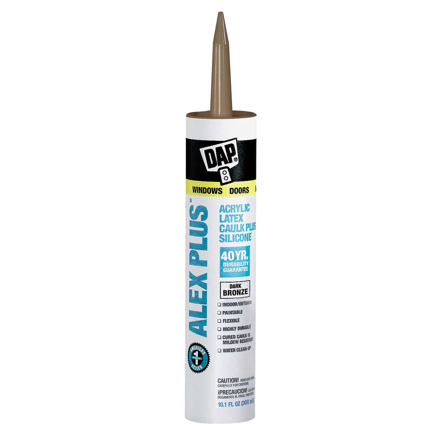 Dap  Alex Plus  Dark Bronze  Acrylic Latex  All Purpose  Caulk  10.1 oz.