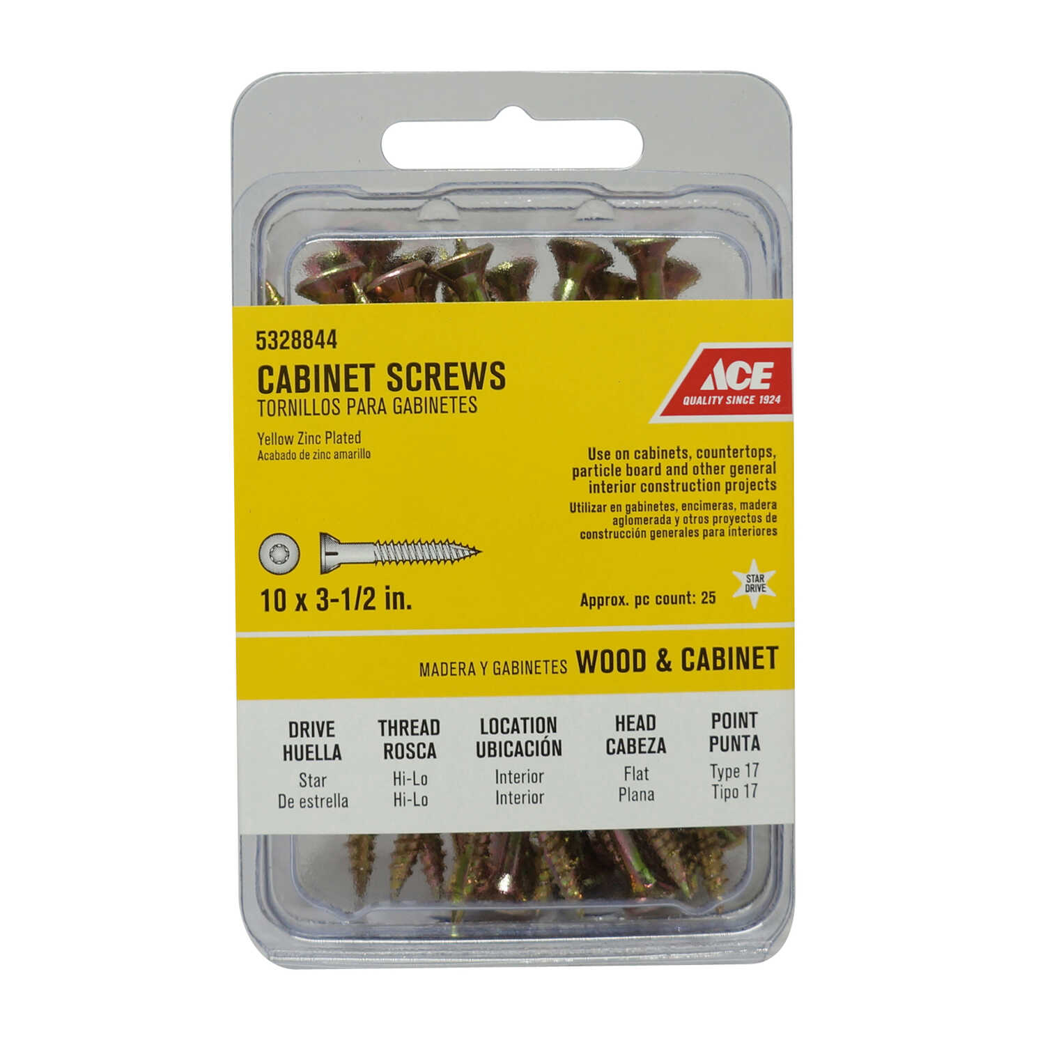 Ace  No. 10   x 3-1/2 in. L Star  Flat Head Yellow Zinc-Plated  Steel  Cabinet Screws  25 pk