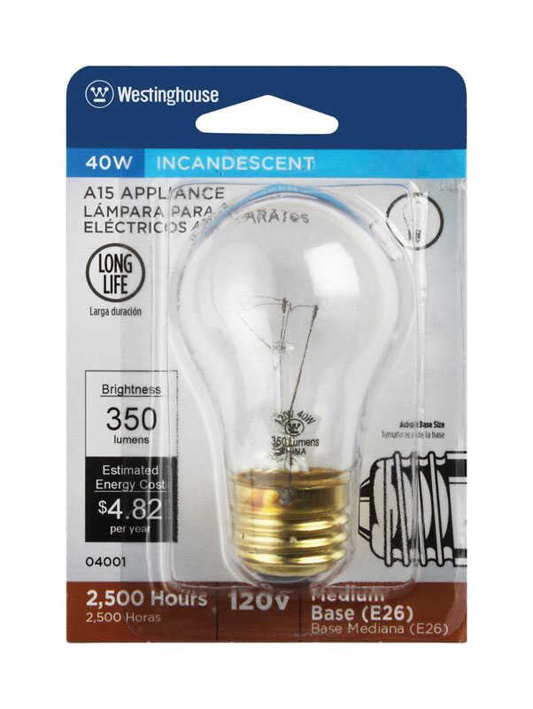 Westinghouse  40 watts A15  Incandescent Bulb  350 lumens White  A-Line  1 pk