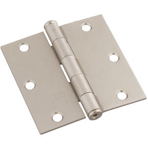 National Hardware  3-1/2 in. L Satin Nickel  Door Hinge  3 pk