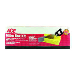 Ace  12 in. L x 4 in. W Plastic  Mitre Box with Back Saw  Yellow  1 pc.