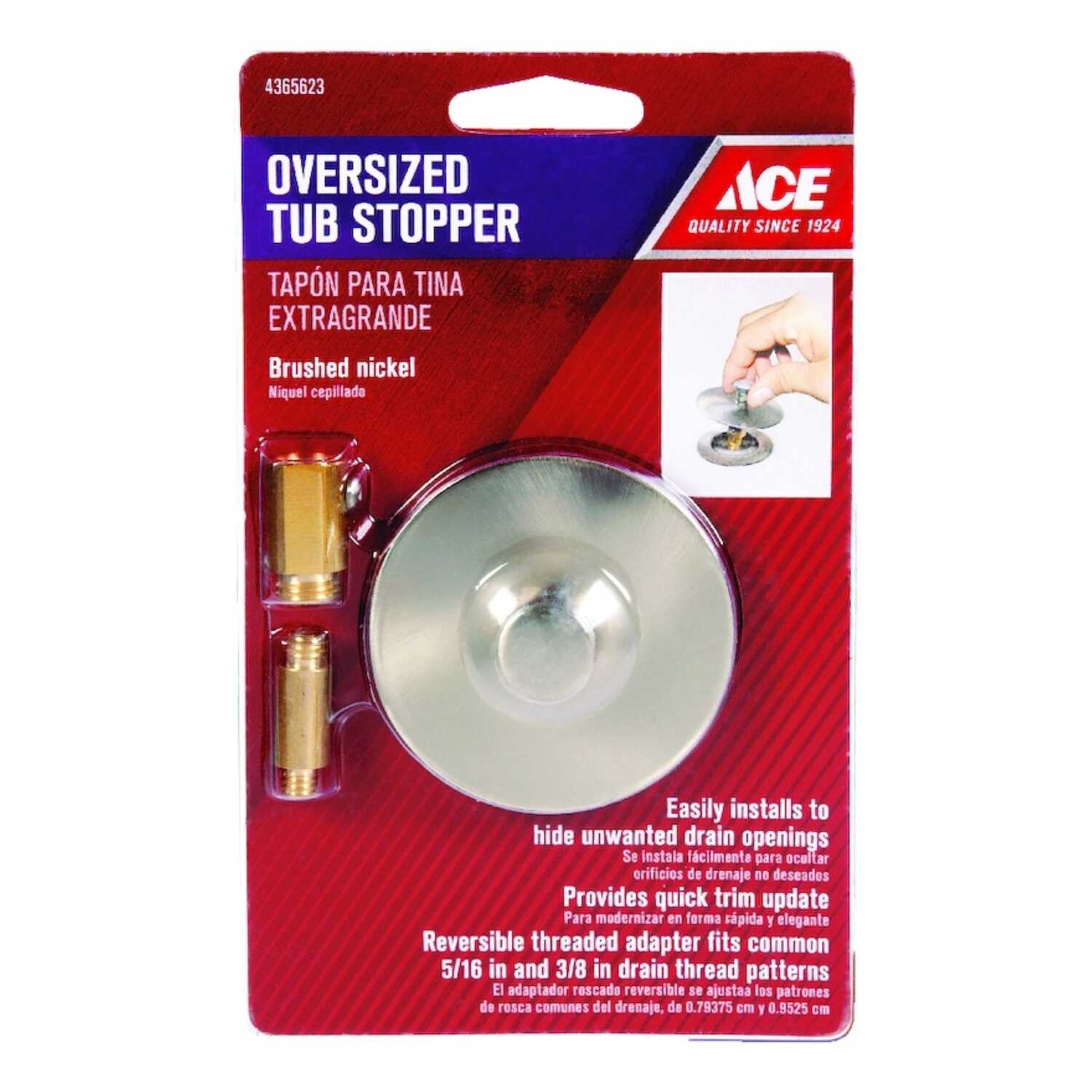 Ace  Multi-Size in. Dia. Tub Stopper  Brushed Nickel  Brushed Nickel