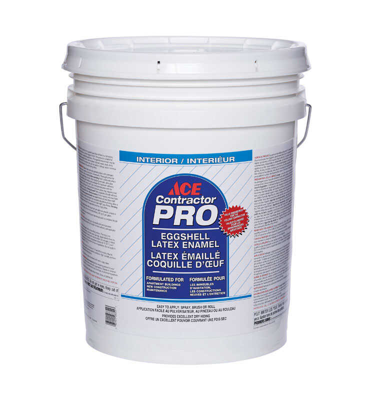 Ace  Contractor Pro  Eggshell  White  Latex  Paint  5 gal.