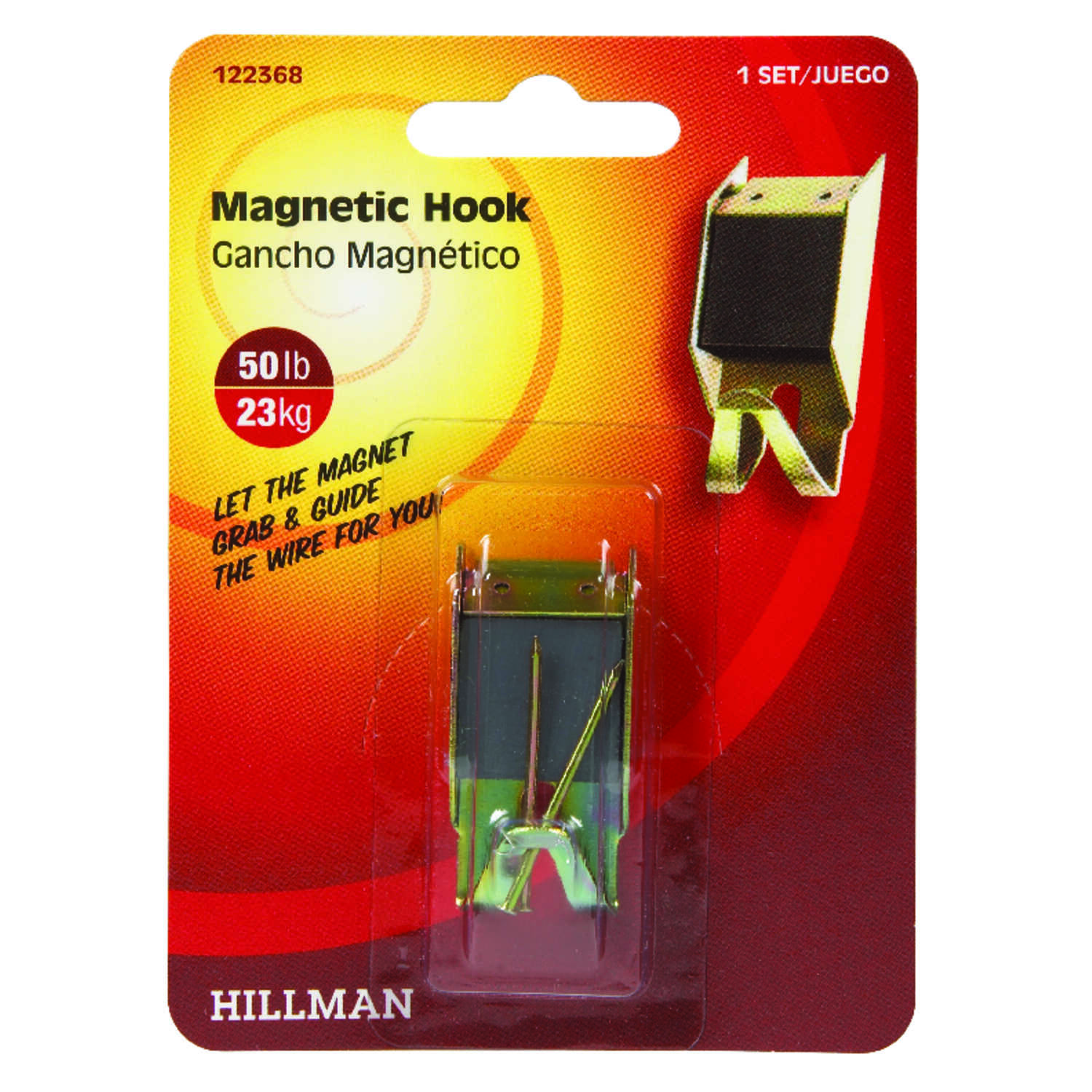 Hillman  AnchorWire  Brass-Plated  Brass  Magnetic  50 lb. 1 pk Picture Hanger