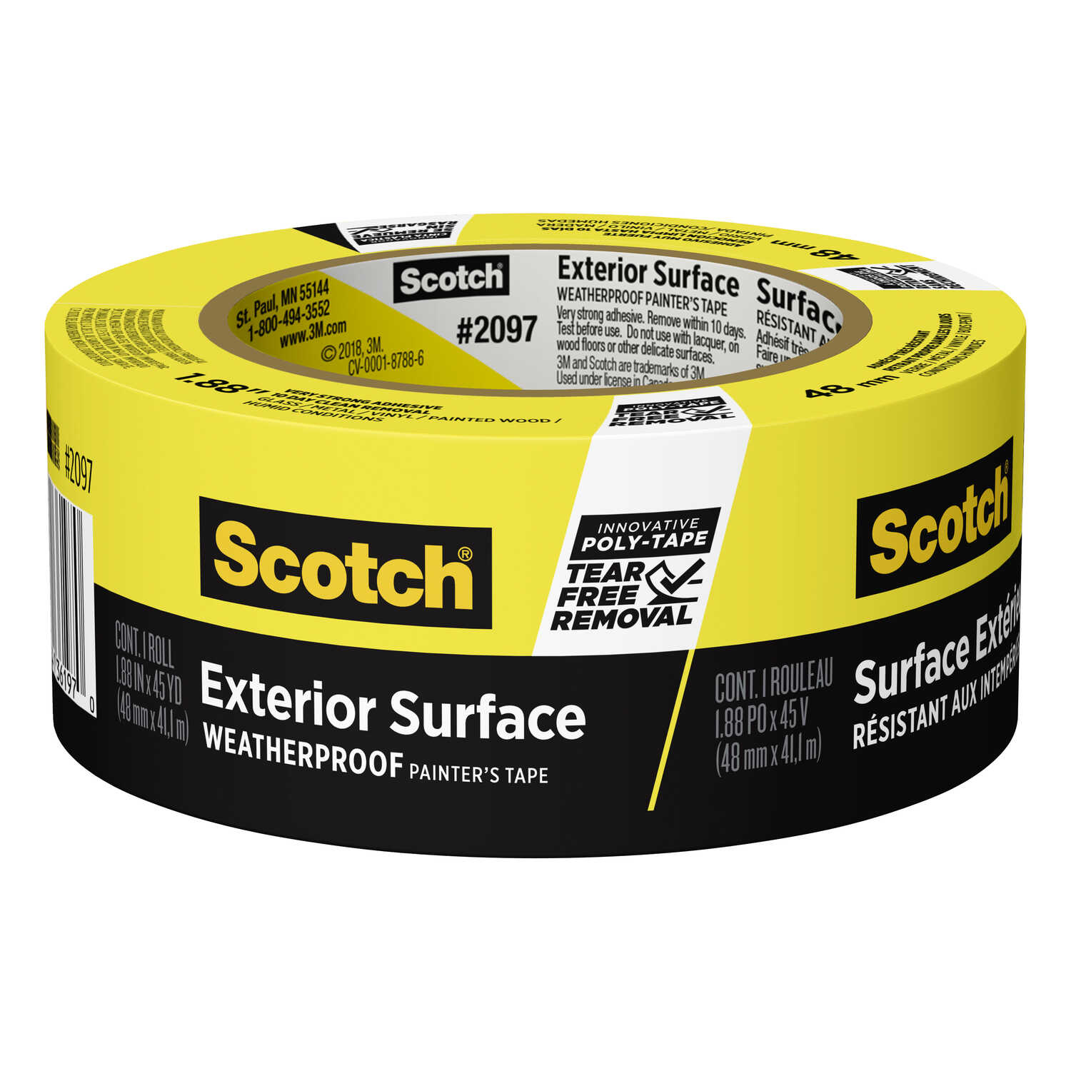 3M  Scotch Blue  1.88 in. W x 45 yd. L Yellow  High Strength  Painter's Tape  1 pk