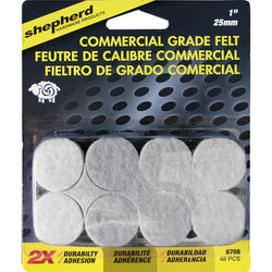 Shepherd  Brown  1 in. Adhesive  Felt  Commercial Grade Felt Pads  48 pk
