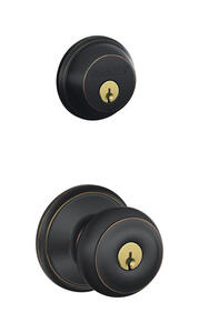 Schlage  Georgian  Aged Bronze  Knob and Single Cylinder Deadbolt  ANSI Grade 2  1-3/4 in.