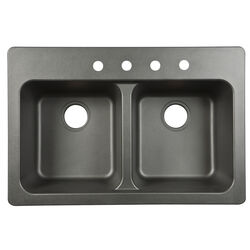 Kindred  Tectonite  Dual Mount  33 in. W x 22 in. L Two Bowls  Kitchen Sink