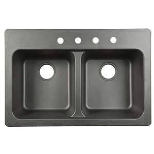 Kindred  Other  Tectonite  Dual Mount  33 in. W x 22 in. L Kitchen Sink  Black