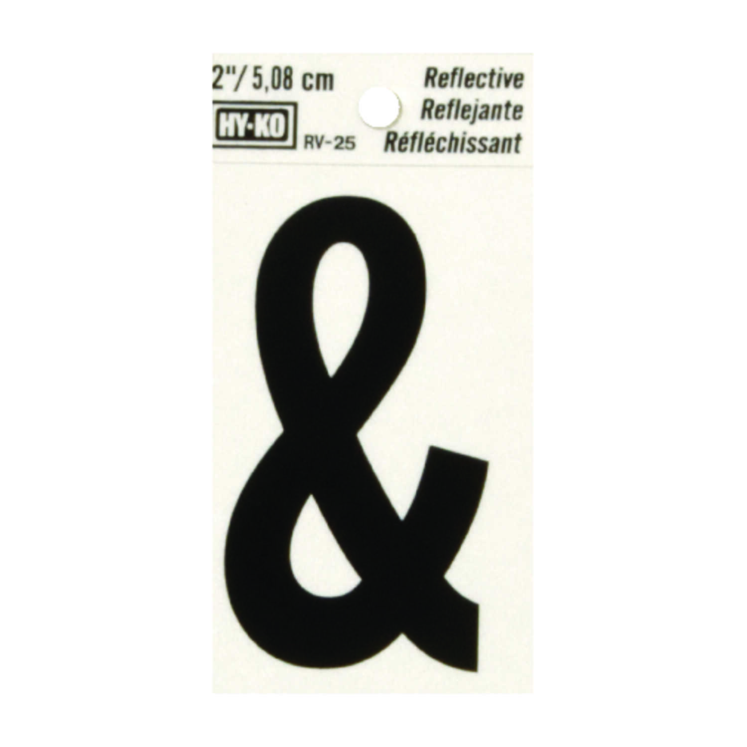 Hy-Ko  Reflective Vinyl  Black  Ampersand  Special Character  Self-Adhesive  2 in.