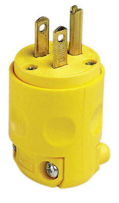 Leviton Residential PVC Ground/Straight Blade Plug 5-15P 18-12 AWG 2 Pole 3 Wire Carded