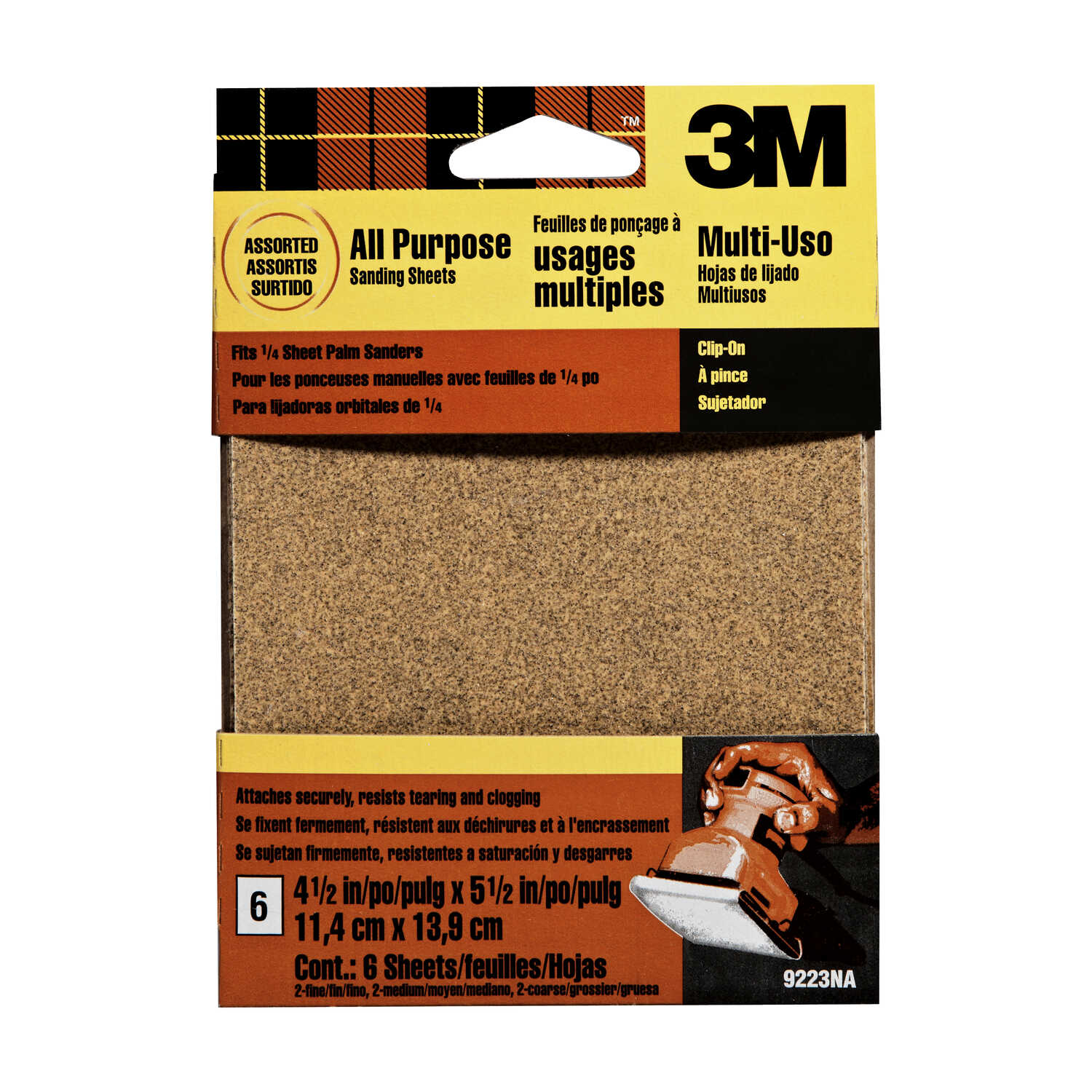 3M  5-1/2 in. L x 5-1/2 in. L x 4-1/2 in. W Assorted Grit Assorted  Aluminum Oxide  Sandpaper  6 pk