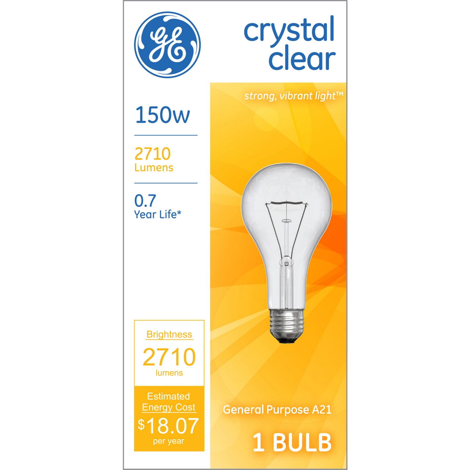GE Lighting  150 watts A21  Incandescent Bulb  2710 lumens White  A-Line  1 pk