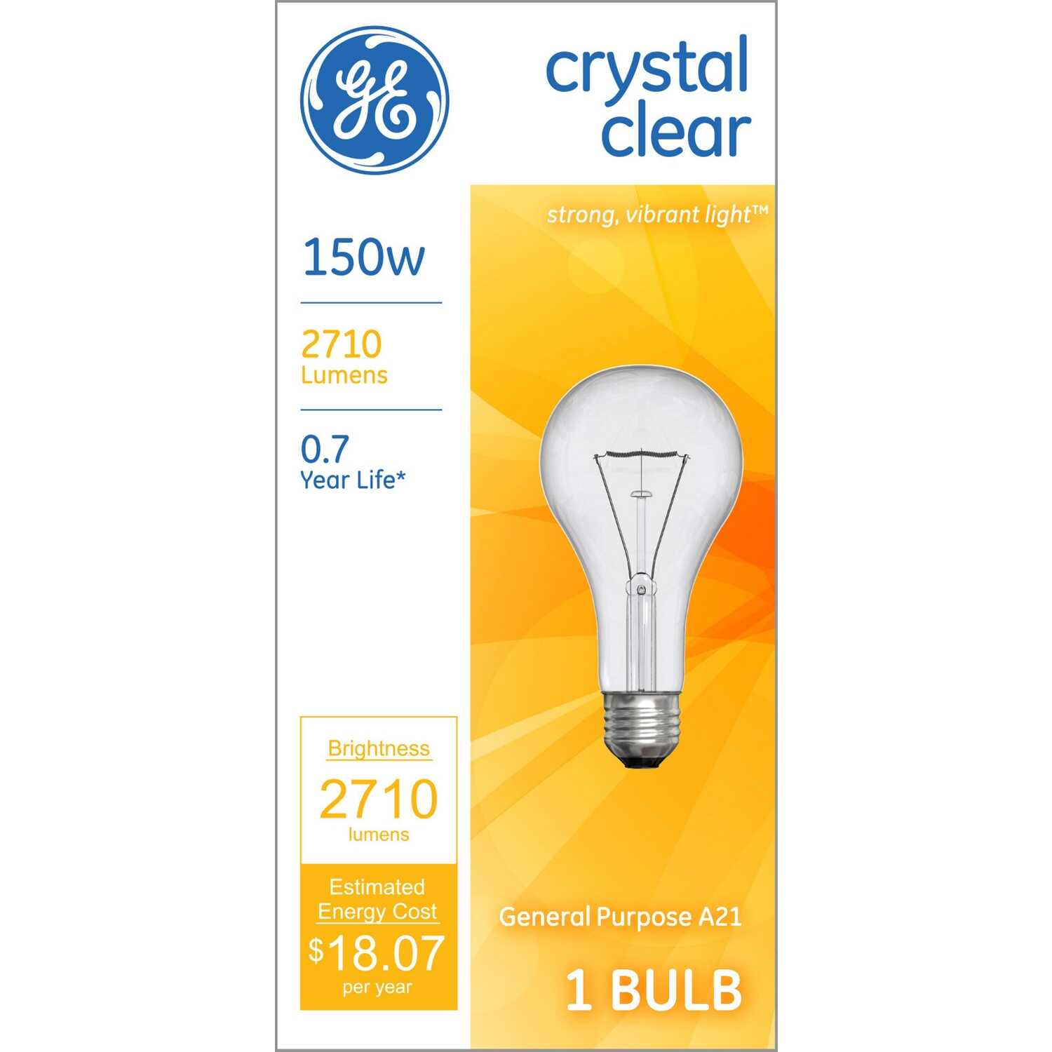 GE  150 watts A21  Incandescent Bulb  2710 lumens Soft White  A-Line  1 pk