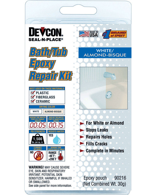 Devcon Home Seal-n-Place High Strength Liquid Bath/Tub Epoxy Repair ...