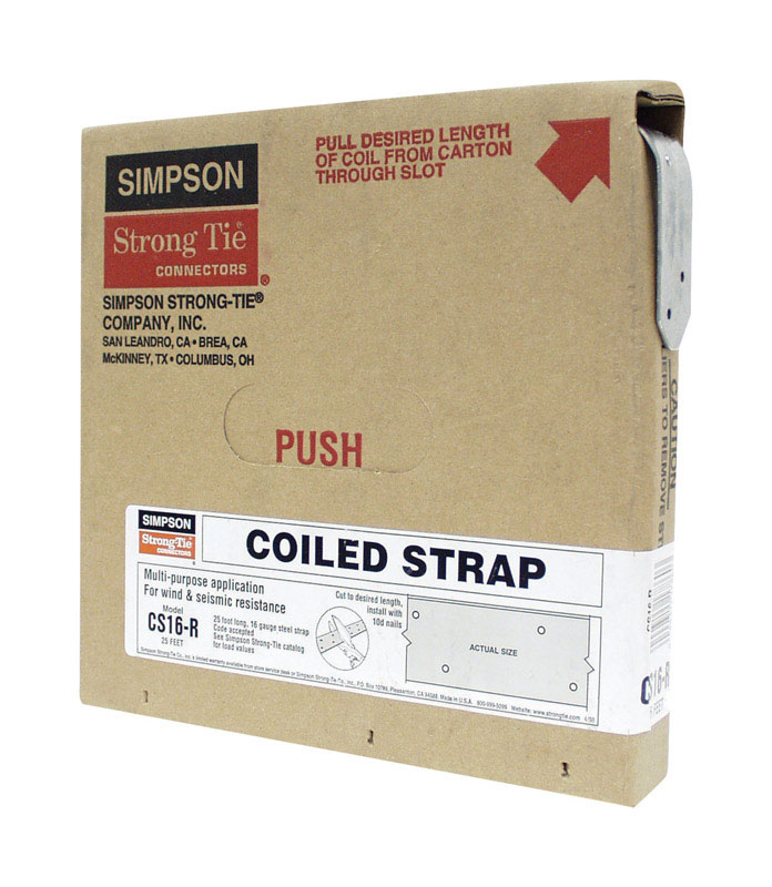 Simpson Strong-Tie  10.44 in. H x 1-1/4 in. W Galvanized Steel  Coiled Strap  16 Ga.