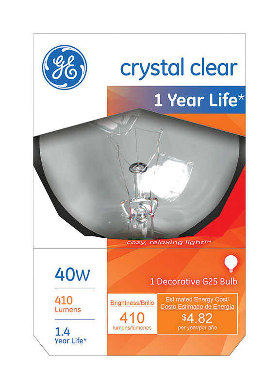GE Lighting  40 watts G25  Incandescent Bulb  410 lumens White  Globe  1 pk