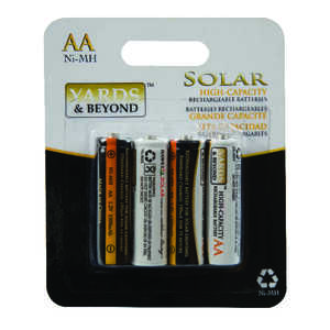 Living Accents Yards & Beyonds  NiMH  Solar Rechargeable Battery  4 pk BTNMAA1500D4  AA