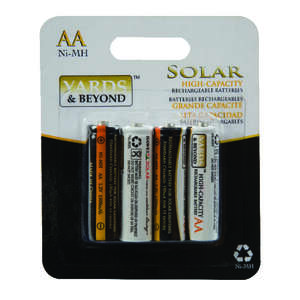 Living Accents Yards & Beyonds  AA  NiMH  Solar Rechargeable Battery  BTNMAA1500D4  4 pk
